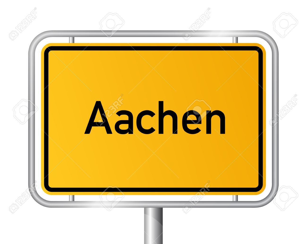 City Limit Sign Aachen Against White Background.