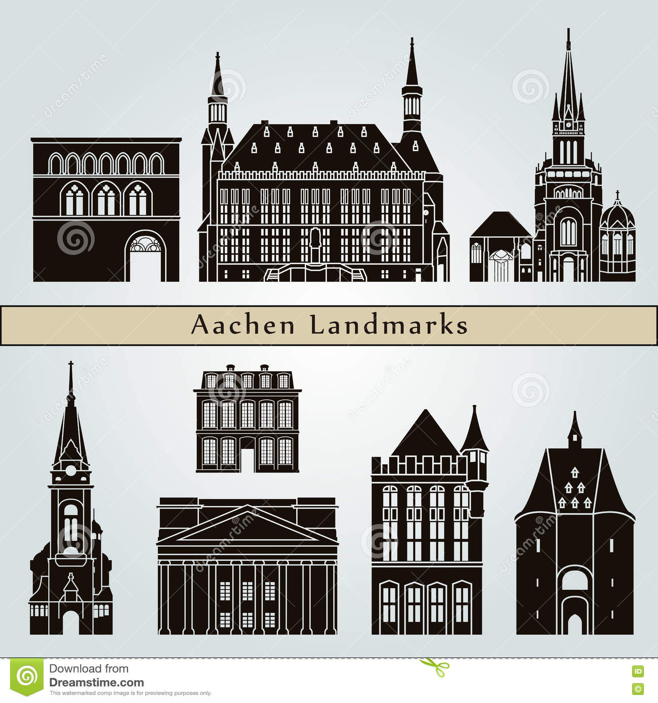 Aachen Landmarks And Monuments Stock Vector.