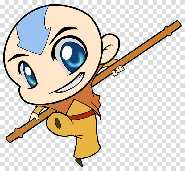 Chibi Aang transparent background PNG clipart.