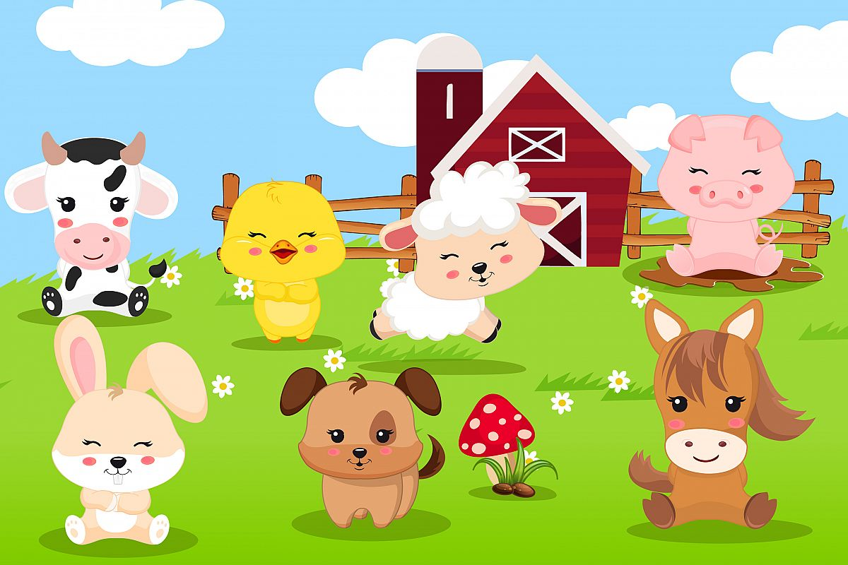 Farm animal clipart, Farm animal graphics.