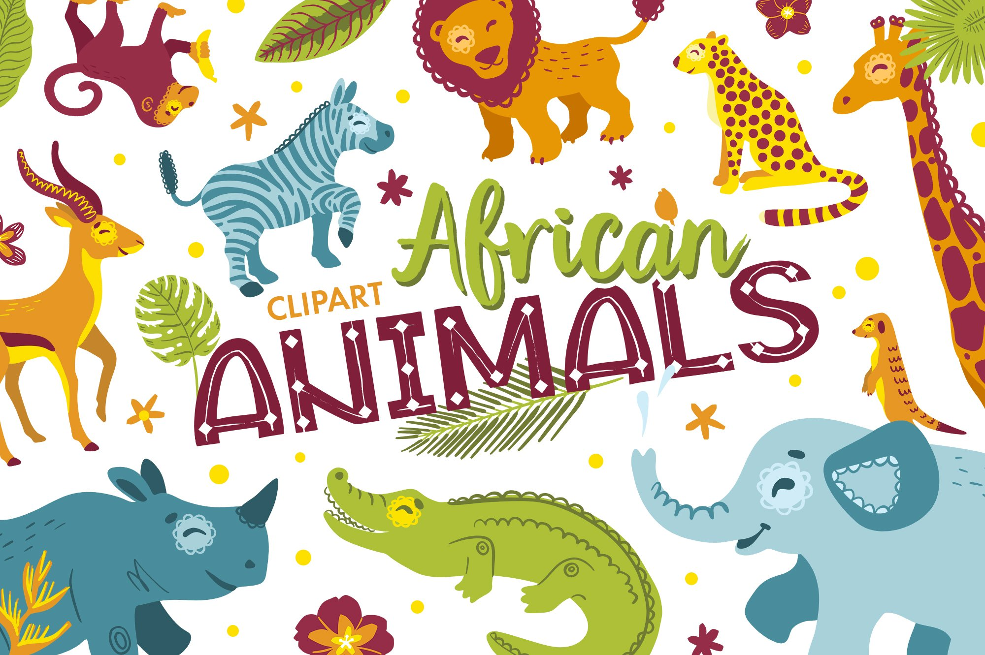 African animals clipart and alphabet.