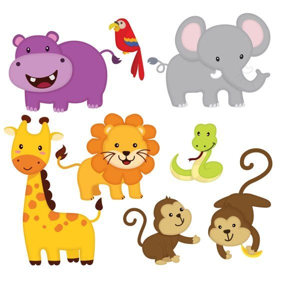 Jungle animal clip art, Jungle Friends sticker, Jungle.