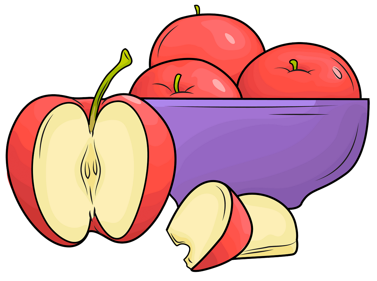 A plate of apples clipart. Free download..