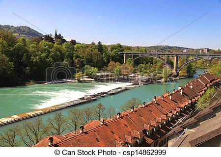Stock Photographs of Cityscape of Bern and Aare river(Switzerland.