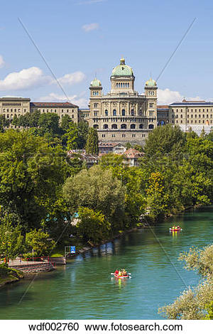 Stock Photography of Switzerland, Bern, Federal Palace and River.