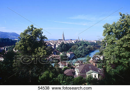 Pictures of High angle view of river flowing through town, Aare.