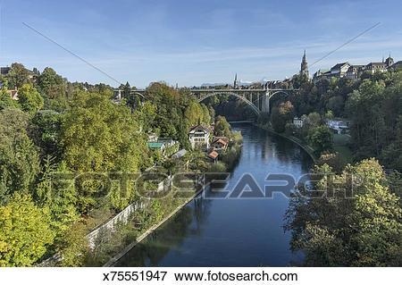 Picture of Bern im Herbst, Fluss Aare, Schweiz x75551947.