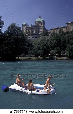 Stock Photo of rafting, Switzerland, Berne, Bern, Rafting down the.