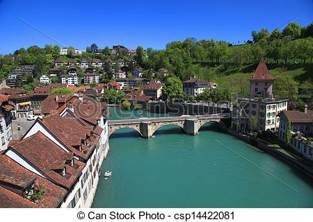 Pictures of Bern and Aare river, Switzerland.