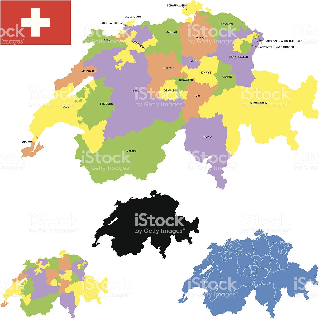 Switzerland Map Stock Vector Art & More Images of Aargau Canton.