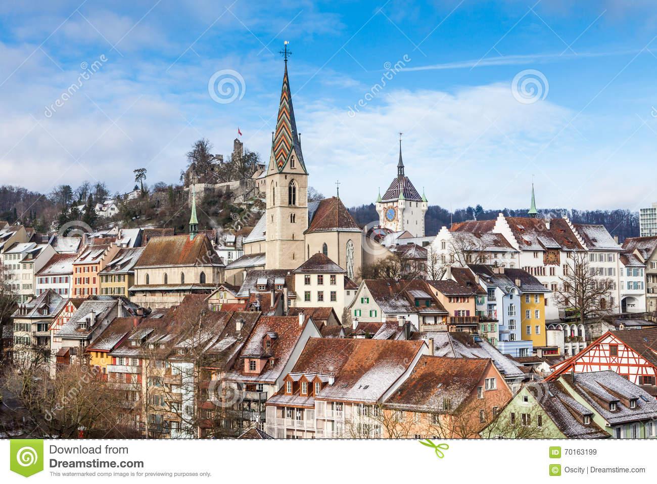 BADEN, AARGAU, SWITZERLAND stock image. Image of municipality.