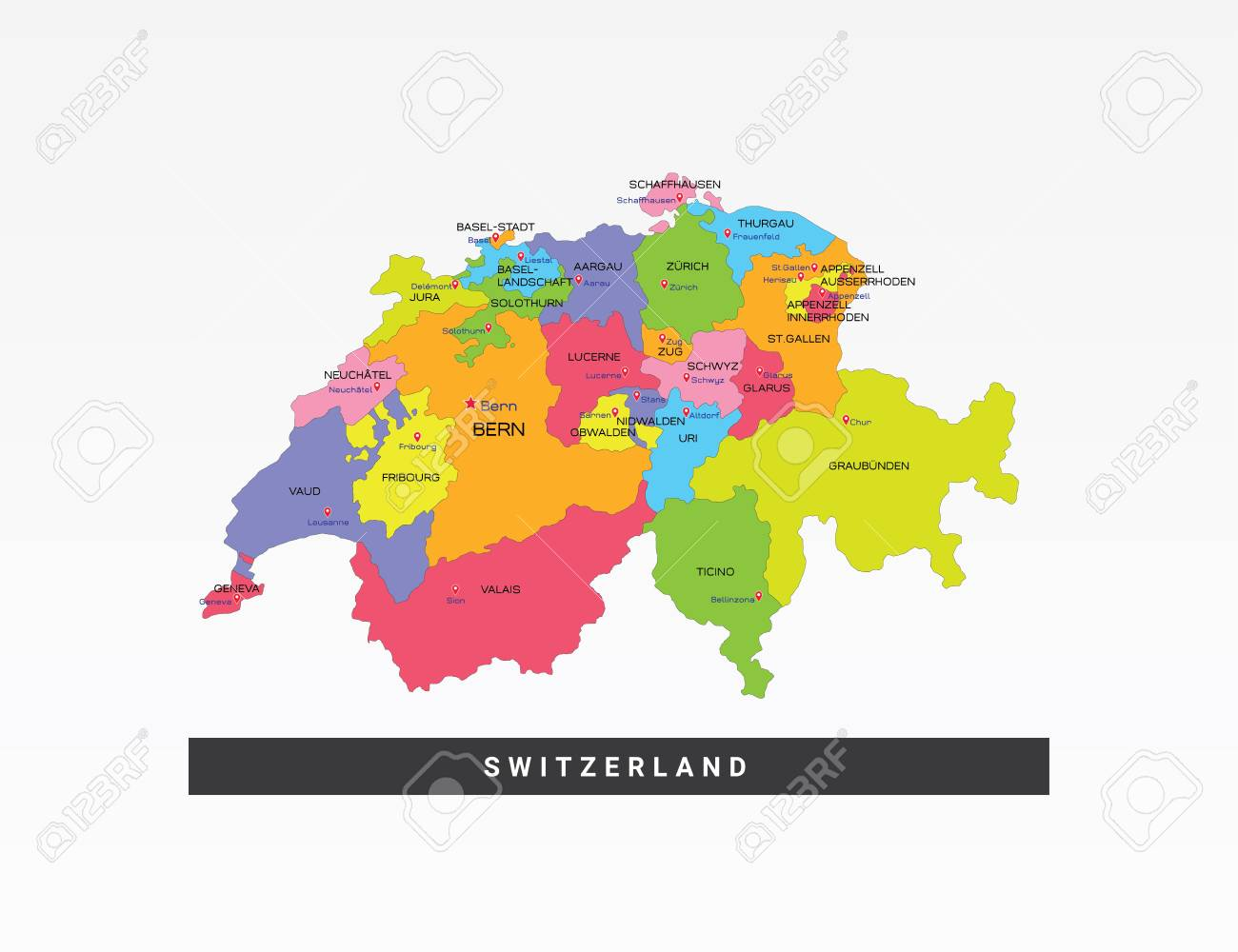 Colorful Map Of Switzerland Vector Illustration. Royalty Free.