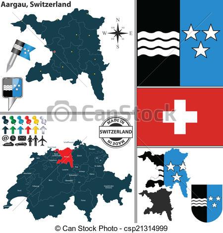 EPS Vectors of Map of Aargau, Switzerland.