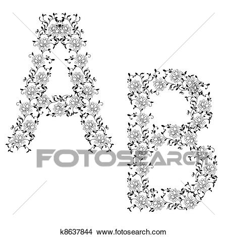 Hand drawing ornamental alphabet. Letter AB Clipart.