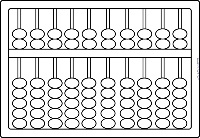 Abacus Lineart Clip Art.