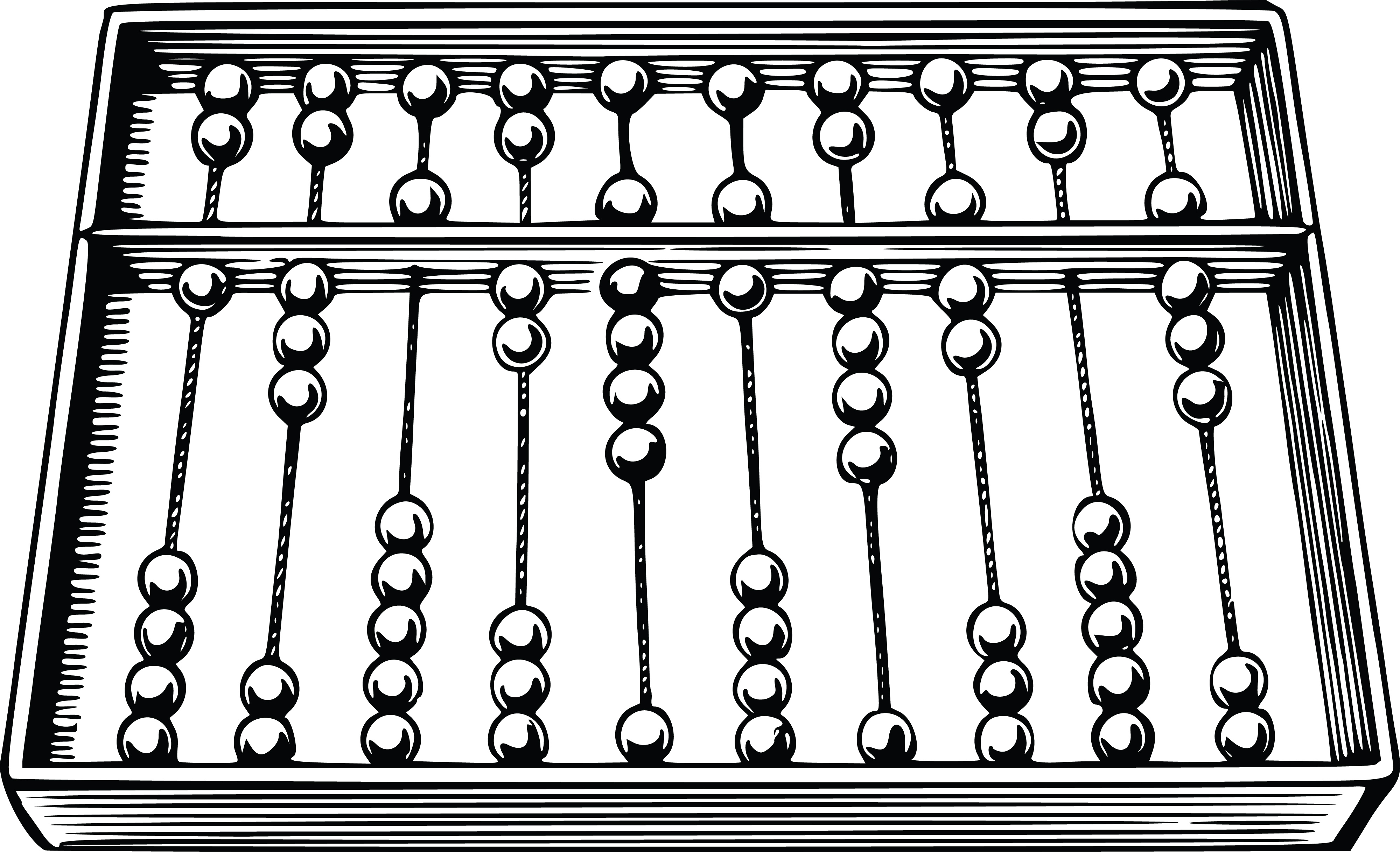 Free Clipart Of A Black and White Abacus.