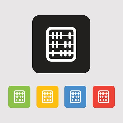 Retro old abacus icon. Colored abacus icon Clipart Image.