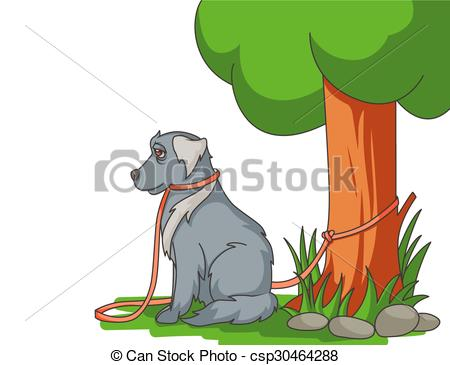 Vector of Sad abandoned dog with lead tied to the tree csp30464288.