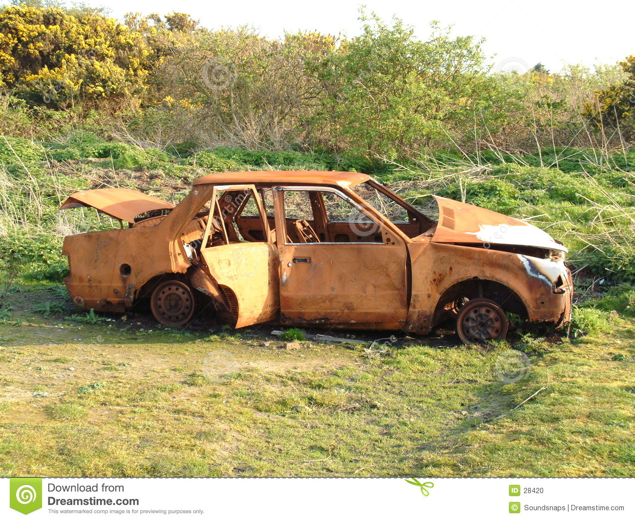 Abandoned Car Wreck Stock Photo.