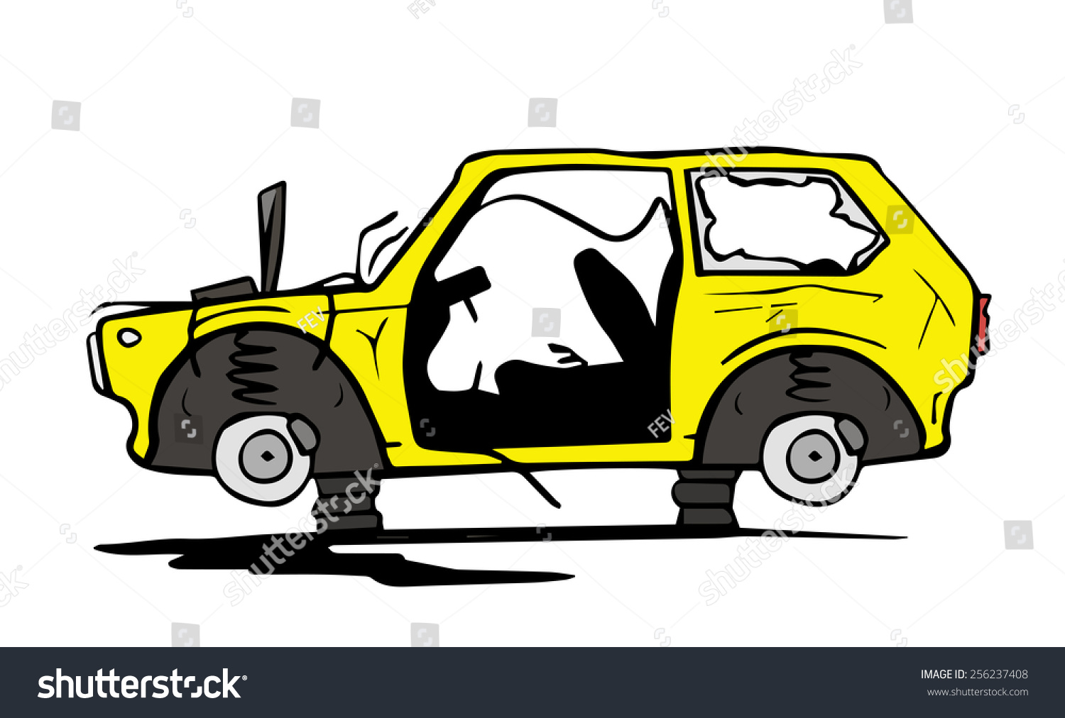 Abandoned Car Stock Vector 256237408.