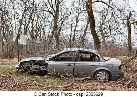 Stock Photo of Abandoned, Wrecked Car.