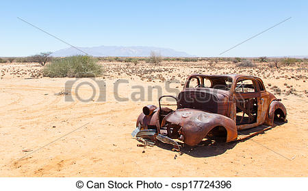 Stock Photographs of Abandoned car in the Namib Desert, Namibia.
