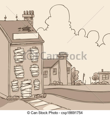 Clipart Vector of Abandoned Building.