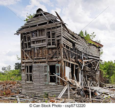Stock Photography of Abandoned Collapsing House.