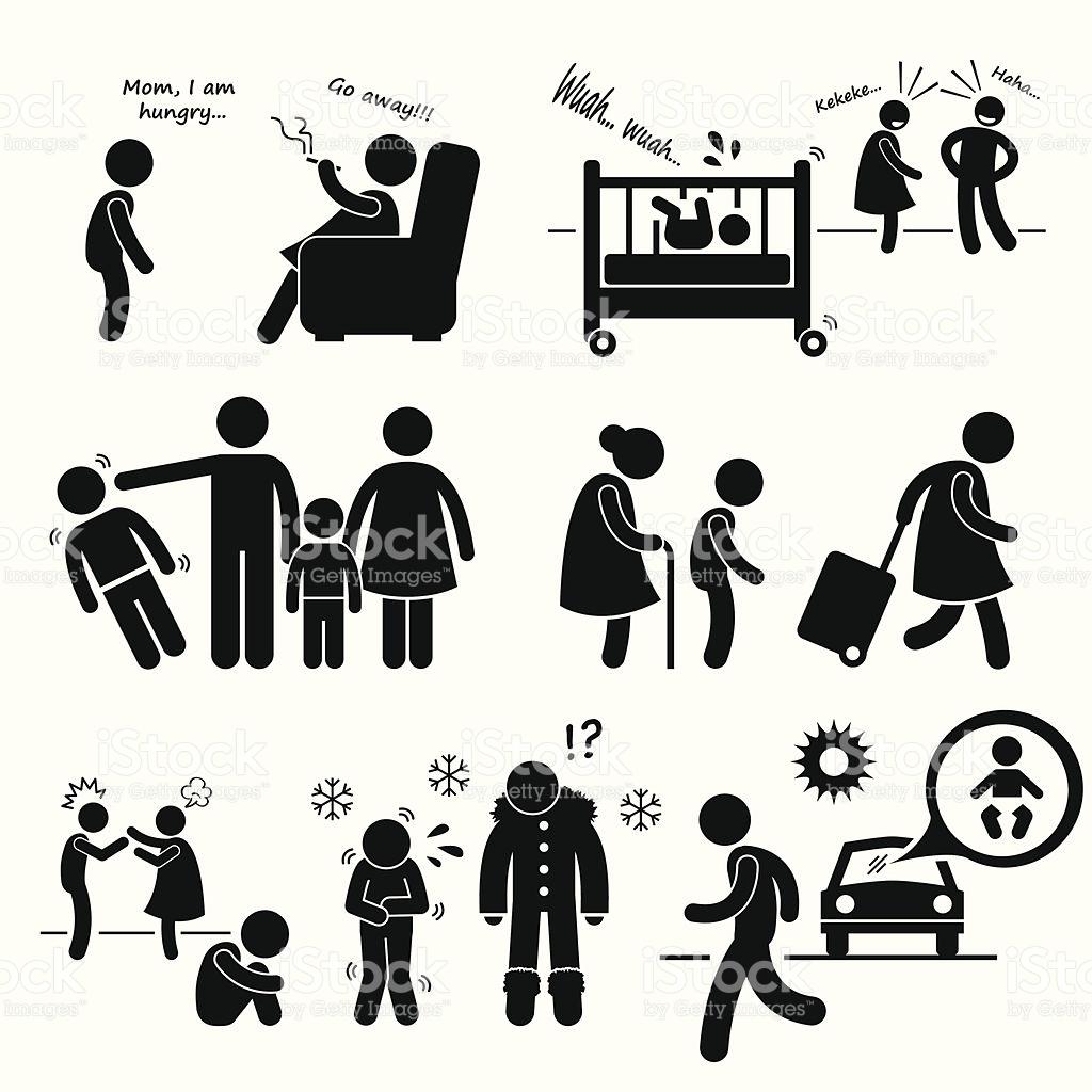 Neglected Child Negligence Abuse Icon Cliparts stock vector art.