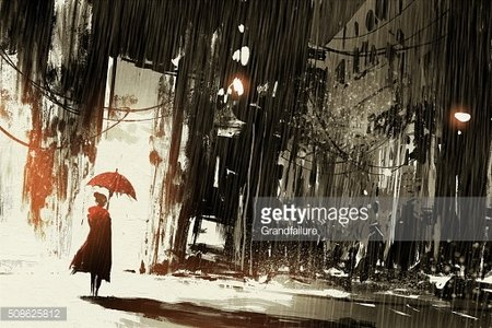 lonely woman with umbrella in abandoned city Clipart Image.