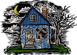 An Abandoned, Scary House Royalty Free Clipart Picture.