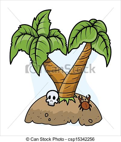 Clipart Vector of Abandoned Island.