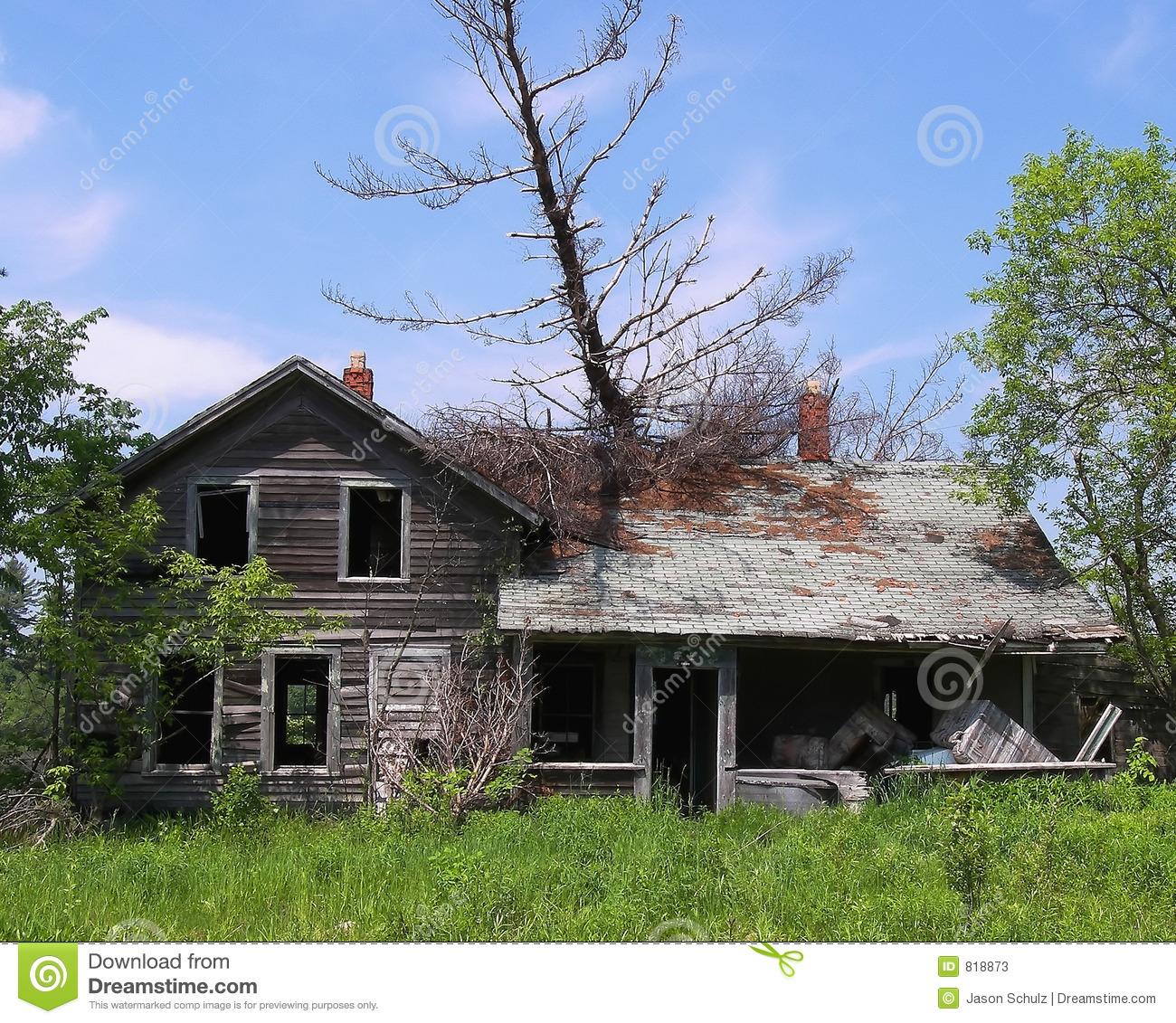 Tree Fell On Abandoned House Stock Photos.