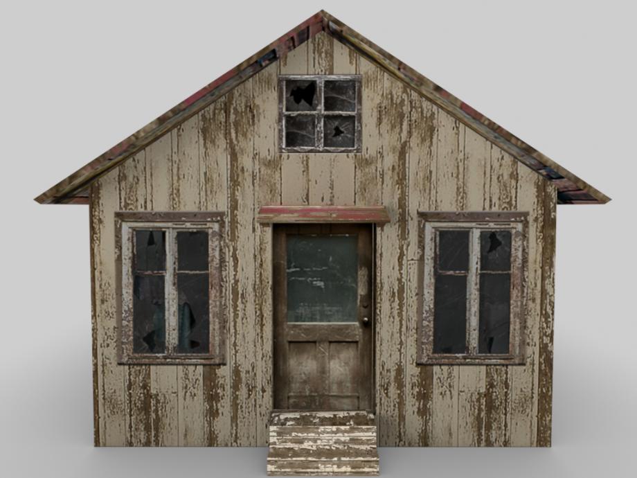 Abandoned Cottage House Free 3D Model.