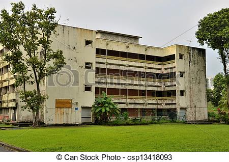Stock Photographs of Abandoned 3 story school building.