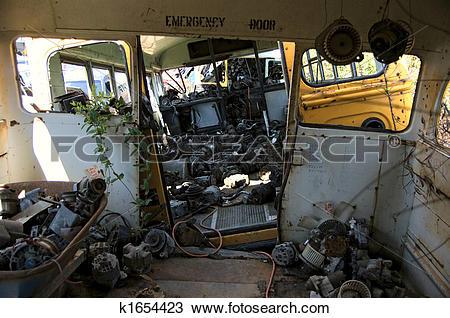 Stock Photo of Abandoned school bus k1654423.