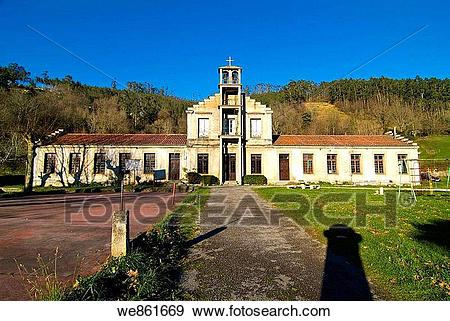 Stock Photograph of Abandoned school, Riotuerto, Cantabria, Spain.