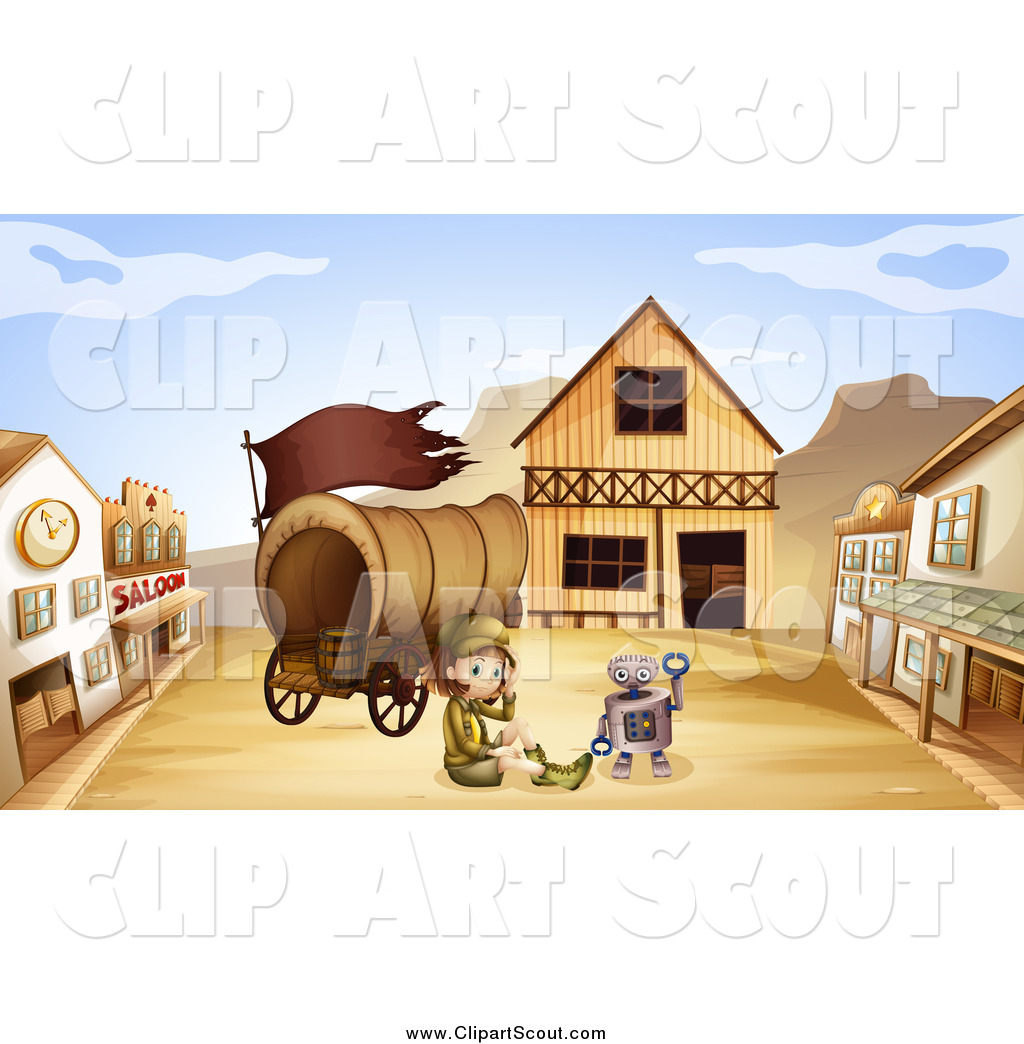 Clipart of a Robot and Scout Girl with a Wagon in a Ghost.