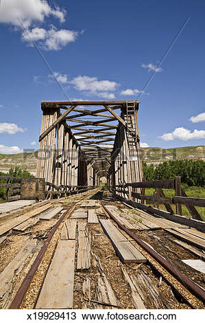 Stock Photo of An abandoned railway bridge in rural Alberta.