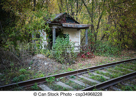 Stock Photo of Abandoned shack stationmaster.