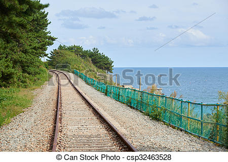 Stock Photo of train track in a coast of Busan, Korea..