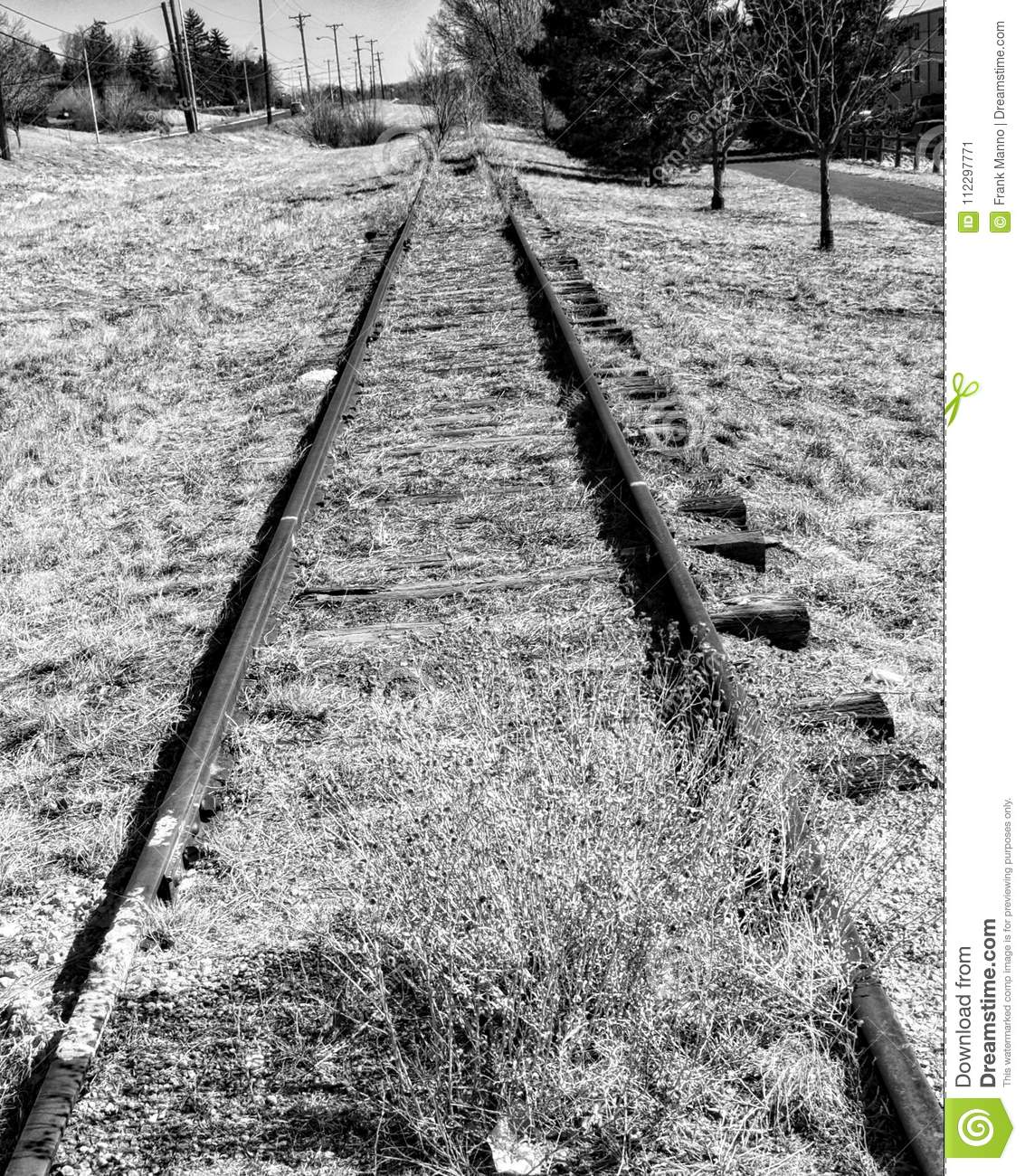 Old Abandoned Railroad Train Tracks Stock Image.
