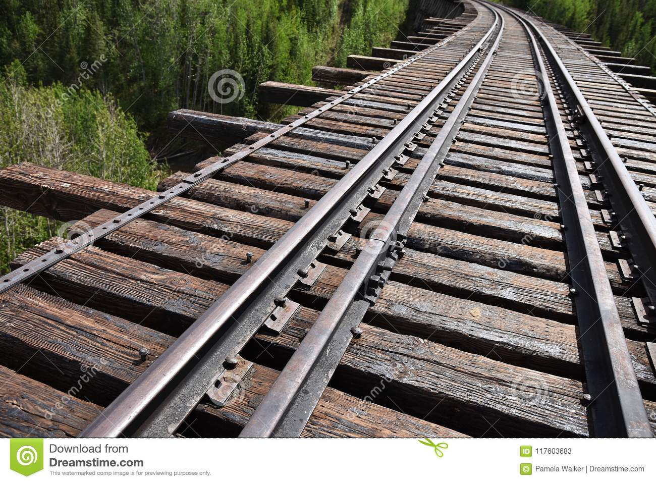 Abandoned Train Track Perspective Stock Image.