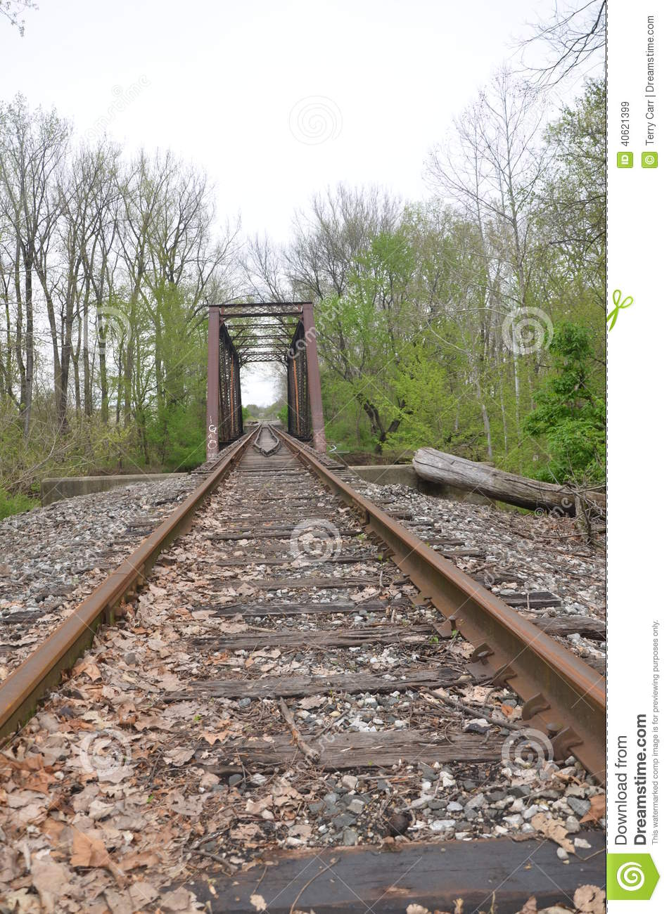 Abandoned Railroad Tracks And Bridge Stock Image.