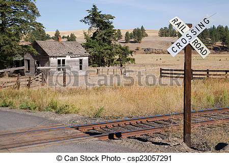 Stock Photographs of Railroad Crossing Sign Tracks Abandoned House.