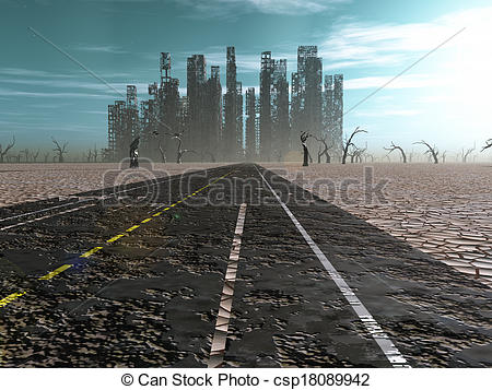 Drawing of Weathered road leads into abandoned city csp18089942.