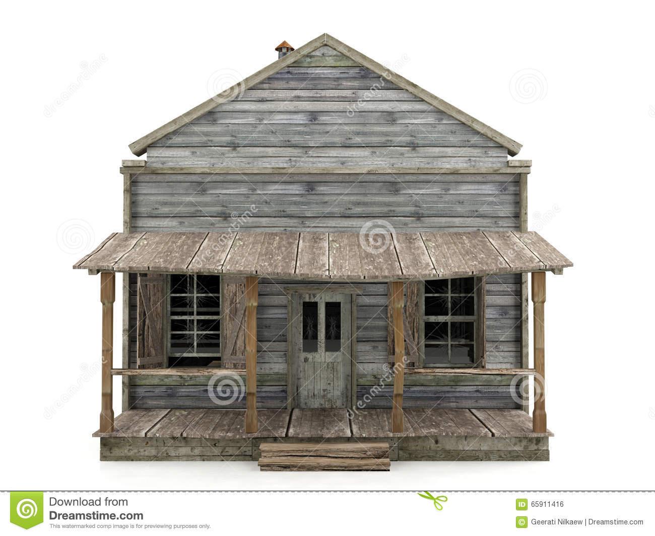 Abandoned House Isolated Stock Photo.