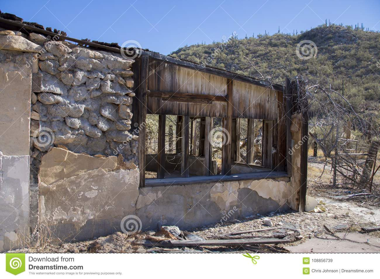 Old Abandoned Building In The Desert Rotting Away Stock Image.