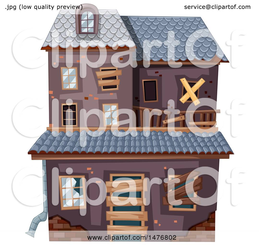 Clipart of a Derelict Abandoned House in Ruins.