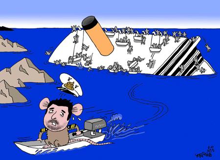 Abandoning the ship like a rat.